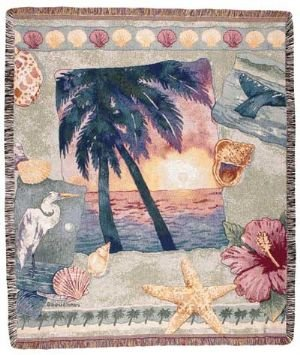 Palm Tree Ocean Breeze Mid-Size Deluxe Tapestry Throw Blanket Usa Made front-937211