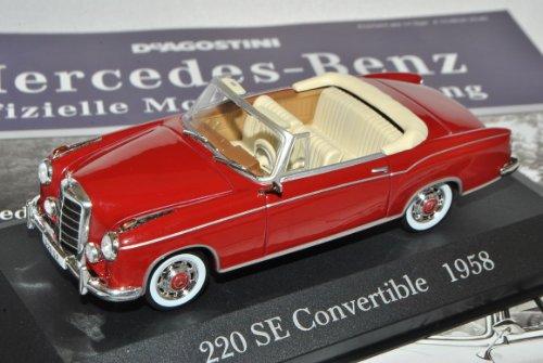 Mercedes-Benz 220SE Cabrio Rot Braun 1958 W111 Inkl Zeitschrift Nr 11 1/43 Ixo Modell Auto