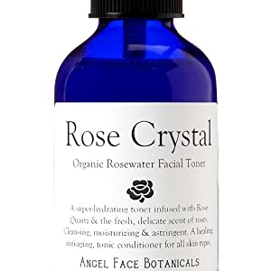 Rose Crystal Organic Rosewater Hydrating Facial Toner with Rose Quartz Gem Elixir 8 oz - As Seen in Fast Company Magazine from Angel Face Botanicals