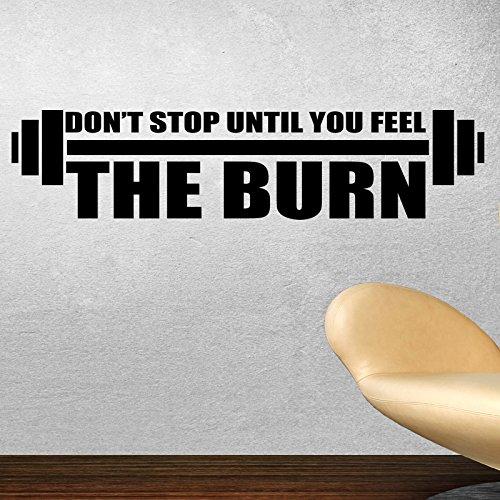 Don' t stop until you feel the Burn Adesivo da parete, in vinile, 1) Black, Small 30 cm x 10 cm