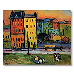 Wassily Kandinsky Houses in Munich 1908 Original Architecture Oil Painting Reproduction Hand painted on Gallery Wrapped Canvas - 20X16 inch (51X41 cm)