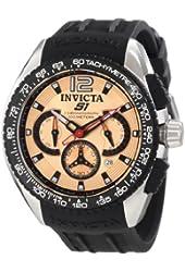 Invicta Men's 1849 S1 Chronograph Rose Gold Dial Black Polyurethane Watch