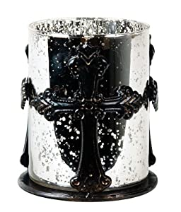Wilco Imports, Mercury Glass Candle Holder 4-inches x 4.5-inches