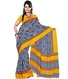 Prafful Grey Jute Silk Printed Saree With Unstitched Blouse Piece