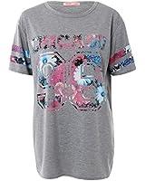 KRISP® Damen T-Shirt Oversize Baseball Chicago Miami Blumen Print 36 38 40 42 44 46 48