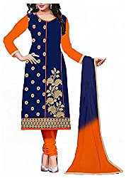 Vaidehi Fashion Women's Georgette Semi-Stitched Dress Material (Blue)