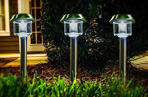 Highgate Solar Accent LED Path Lights, Stainless Steel, Solar-Powered, Set of 6 with Garden Stakes; Easy, Wireless Installation (Led Path Lights Solar compare prices)