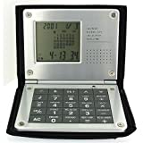Asaki Gents / Ladies World Time Pocket Alarm/CLock & Calculator In Black PU Case