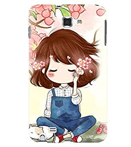 Printvisa Cute Girl Sitting Under A Tree Back Case Cover for Samsung Galaxy Note 2