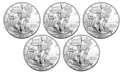 Set of Five - 2012 American Silver Eagles Set Choice Uncirculated