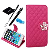 iPhone 6 Plus case, Camellia Diamond Crystal Designed with PU Leather Lady Style For Apple iPhone 6 Series (iPhone 6Plus(5.5-Inch), Rosepink)