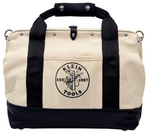 Klein Tools 5003-20 20-Inch Canvas Tool Bag with Multiple Pockets and Leather Bottom,White/Black (Klein Tool Bag Canvas compare prices)