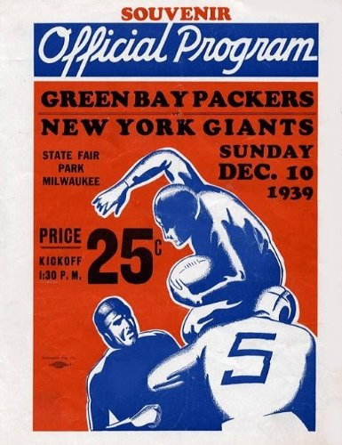 New York Giants Vs Green Bay Packers Program Cover Poster 1939 Vintage NFL Football Championship at Amazon.com