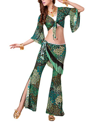MFrannie® Peacock Pattern Top and Trousers with Fringe Scarf Dance Outfit
