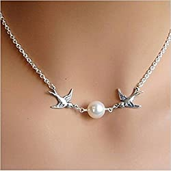 Fashion Double Bird Chasing Kissing Immitation Pearl Shape Silver Color Pendant Necklace - Silver By ITS