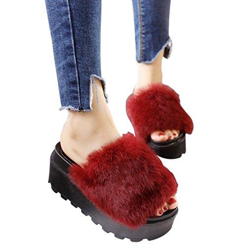 Peluche flip-flop coniglio pantofole dei sandali sandali platform soffice pelliccia 7 centimetri di altezza autunno inverno per le donne by Dream's Story (rosso)