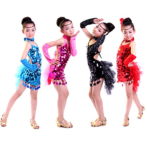 Seawhisper Children's Latin Dance Costumes Girls Paillettes Rumba Tango Dress