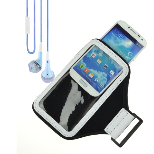 Sports Armband Gym Band Case Compatible With Samsung Smartphone (Black) + Vangoddy Headphone With Mic ,Blue