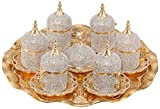 Grand Gifft Handmade Copper Turkish Coffee Espresso Serving Set Swarovski Crystal Coated Cup (Upper Crust) V.i.p Product