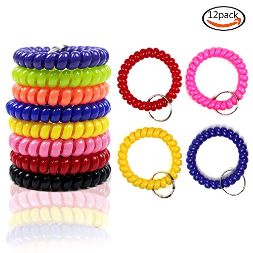 LoveS 12Pcs Colorful Coil Stretch Wristband Keychain for Gym, Pool, ID Badge (Coil Keychain Orange compare prices)