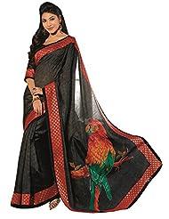 Abida Printed Black Color Bhagalpuri Art Silk Saree - B00VG61MRM