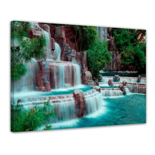 Bilderdepot24 Leinwandbild Wasserfall vor dem Wynn Hotel - Las Vegas - 70x50 cm 1 teilig - fertig gerahmt, direkt vom Hersteller