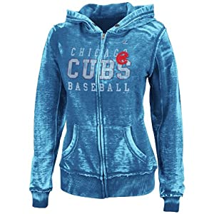 MLB Chicago Cubs Washed Deep Royal Heather Long Sleeve Full Zip Hood Bunout Ladies... by Majestic