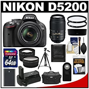 Nikon D5200 Digital SLR Camera & 18-55mm G VR DX AF-S Zoom Lens (Black) with 55-300mm VR Lens + 64GB Card + Case + Grip & Battery + Tripod + Tele/Wide Lenses + Filters Kit