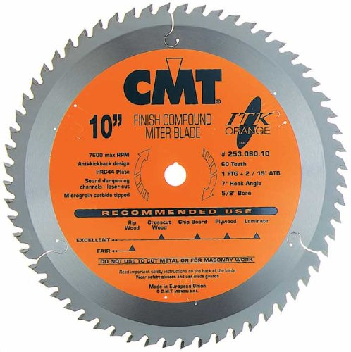 CMT 253.060.10 ITK Industrial Finish Sliding Compound Miter Saw Blade, 10-Inch x 60 Teeth 1FTG+2ATB Grind with 5/8-Inch Bore (Tamaño: D 10 254mm | T 60 | B 5/8 | K .098 | P .071)
