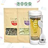 30 Day Detox Tea Kit for Teatox & Weight Loss to get a Skinny Tummy by Teami Blends   Our Best Colon Cleanse Blend to Raise Energy, Boost Metabolism, Reduce Bloating! (Big WhiteTumbler & Infuser) (Tamaño: Kit + 600ML Tumbler)
