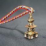 Fashion Jewelry ~ Goldtone 5 Element Pagoda Pendant Necklace (Style 2715 Gld)