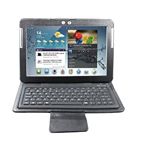 "eWonder(R) Wireless Bluetooth Keyboard Case for 10"" Samsung Galaxy Tab/Tab 2 10.1 (Black, 1 Year Manufacturer Warranty)"