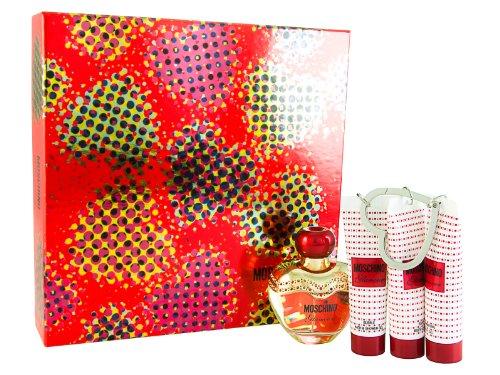 Moschino Glamour 50ml Eau de Parfum + 30ml Duschgel + 30ml Körperlotion + 30ml Körpergel + Schlüsselanhänger Geschenkset für Sie, 1er Pack (1 x 50 ml)