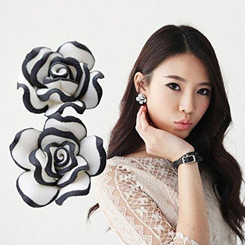 Starvy (TM) Vendita calda! Sveglio elegante donne della signora Girls Black White Rose vite prigioniera del fiore orecchini 27 maggio