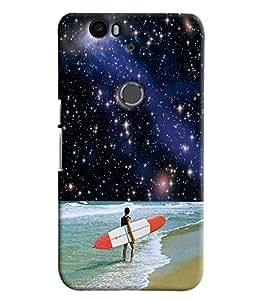 Blue Throat Man Surfing In Sea Printed Designer Back Cover/ Case For Huawei Google Nexus 6P