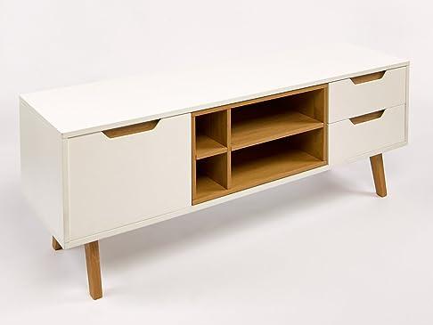 Simla–Mobile TV scandinavo bianco e quercia di Simla bianco