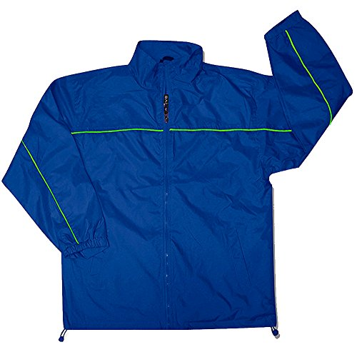 Apparel No. 5 Men's Lightweight Windbreaker Jacket,Large,Cobalt/Lime