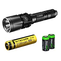 NITECORE P25 860 Lumens high intensity CREE XM-L U2 LED Tactical Flashlight (Black) with Nitecore NL188 rechargeable 18650 3100mAh Battery and 2 X EdisonBright CR123A Lithium Batteries Bundle