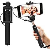 Selfie Stick : Stalion® Selfy Handheld Extended WIRED Monopod Portrait Taker & Video Recorder (Jet Black) UNIVERSAL FIT for iPhone 6s, iPhone 6s Plus, Galaxy S6 Edge+, Note 5 and smartphones
