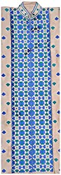 The Phulkari Women's Silk Unstitched Kurti Material (Blue Green)