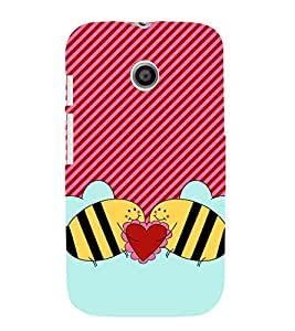 Love Bees 3D Hard Polycarbonate Designer Back Case Cover for Motorola Moto E XT1021 :: Motorola Moto E (1st Gen)