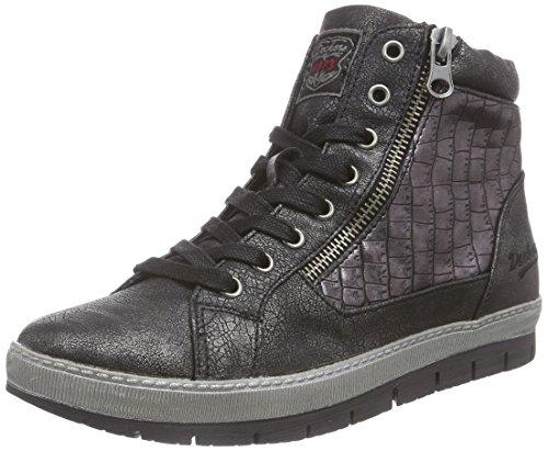 Dockers 35NE215, Sneaker alta donna, Nero (Schwarz (schwarz/silber 155)), 40
