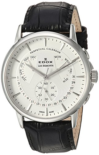 Edox-Mens-Les-Bemonts-Swiss-Quartz-Stainless-Steel-and-Leather-Dress-Watch-ColorBlack-Model-01602-3-AIN