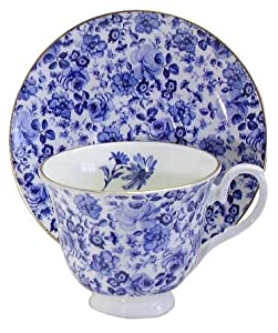 English Bone China Teacup & Saucer Blue Rose Chintz Decor
