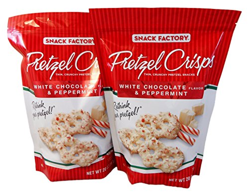 Snack Factory Pretzel Crisps White Chocolate Flavor and Peppermint 20 Oz (Pack of 2 Large 20 Ounce Bags) (Pretzels White Chocolate compare prices)
