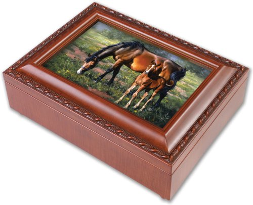 Horses Pretty As A Picture Equestrian Woodgrain Jewelry Music Plays Wonderful World (Picture Jewelry Box compare prices)