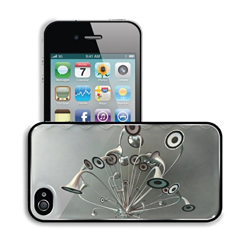 Variety Silver Metallic Speaker Design Apple Iphone 4 / 4S Snap Cover Premium Aluminium Design Back Plate Case Customized Made To Order Support Ready 4 7/16 Inch (112Mm) X 2 3/8 Inch (60Mm) X 7/16 Inch (11Mm) Luxlady Iphone_4 4S Professional Metal Cases T