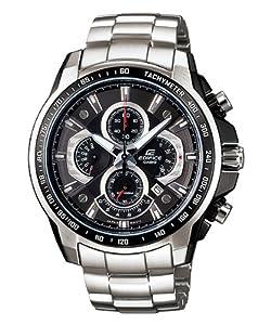 Casio Men's Edifice EF-560D-1AV Silver Stainless-Steel Quartz Watch with Black Dial