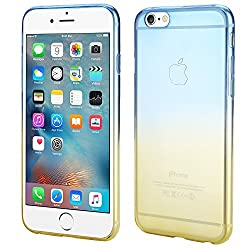 iPhone 6S Case, Dealgadgets Ultra Soft Colorful Clear Shell Slim Crystal TPU gel Case with Gradient Ramp Design Bumper Defender Cover for Apple iPhone 6S 4.7 inch (Blue/Yellow)