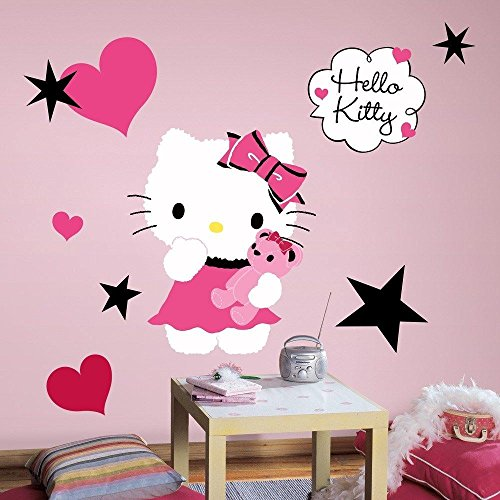 New New Large HELLO KITTY COUTURE WALL DECALS Girls Bedroom Stickers Pink Room Decor (How To Wear A Santa Hat)